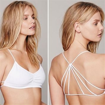 Sexy Women Lingerie 2016 Lady Strappy Cage Open Back Push-up Bra Bralette Solid Bandeau Bustier