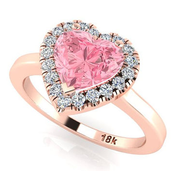 Bridal Diamond Rings, Wedding Ring, Engagement Rings, Pink Heart Shape Sapphire Ring, Romantic Proposal Ring, Heart Shape Rings