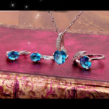 Beautiful Blue Topaz Imitation Diamond Necklace Earrings Ring Wedding Jewelry Set Valentine Gift Free Shipping