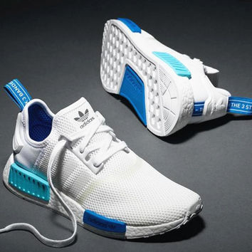 """Adidas"" NMD Trending Fashion Casual Sports Shoes White blue soles"