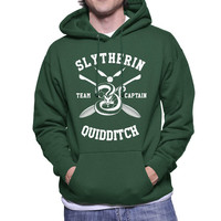 Slytherin Quidditch team Captain White print printed on Forest green, Maroon, Navy or Black Hoodie