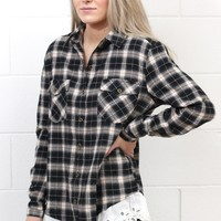 Touch of Lace Plaid Flannel {Black Mix}