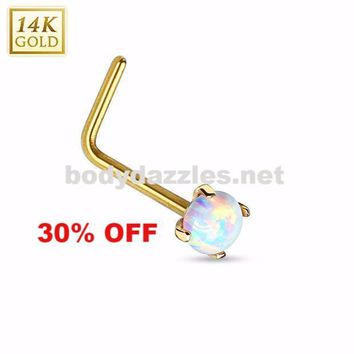 14 Karat Gold L Bend Nose Ring with Prong Set Opal Nose Stud Body Jewelry 20ga