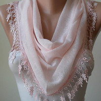 New - Soft - Light  Pink Scarf with Trim Edge - Triangle