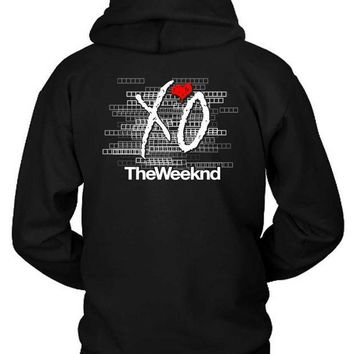 ESBH9S The Weeknd Logo Blur Background Title Hoodie Two Sided