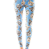 Cat Face Print Leggings in Powder Blue