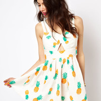 Reverse | Reverse Sun Dress In Pineapple Print at ASOS