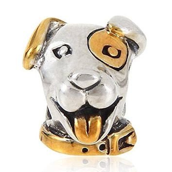 Charmstar Lucky Dog Charm with Gold Plated 925 Silver Pet Puppy Animal Bead for European Bracelet