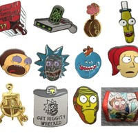 FREE SHIPPING - New Rick and Morty Collector Pins BUY-1-GET-2-FREE! (Wooden and Paper Boxes Optional)