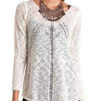 Long Sleeve Open Knit Tunic Sweater by Charlotte Russe - Ivory
