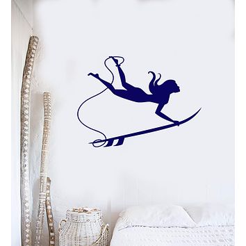 Vinyl Wall Decal Surfer Girl Surfboard Beach Style Surfing Interior Room Stickers Mural (ig5826)