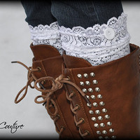 Lace Boot Cuffs - Faux Lace Boot Socks - Faux Lace Leg Warmers - Faux Knee High Sock - Lace Boot Topper - Boot Topper - Women's