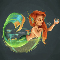 Mermaid Bubble Art Print by Laia™