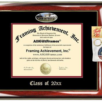 AllGiftFrames Custom Diploma Frame Embossed CSUS College Best California State University Stanislaus Graduation Degree Frame Double Mat Campus Fisheye Cheap Graduate Gift