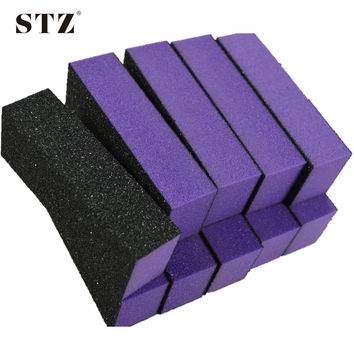 NEW 10pcs Purple 4 Side Block Nail Art Buffer Files Sandpaper Sanding For Acrylic Nail Manicure Pedicure Dropshipping