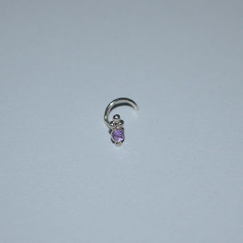 Silver 2mm Amethyst Nose Stud - Ring - Ear,Cartilage,Helix,Tragus 18 gauge earring. Handcrafted 18g jewelry