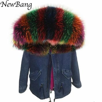 NewBang Brand Denim Parkas Womens Luxurious Large Raccoon Fur Collar Hooded Women's Winter Jacket Detachable Lining Warm Coat