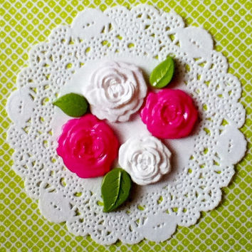 Pink and White Rose Flatbacks, Handmade Cabochons