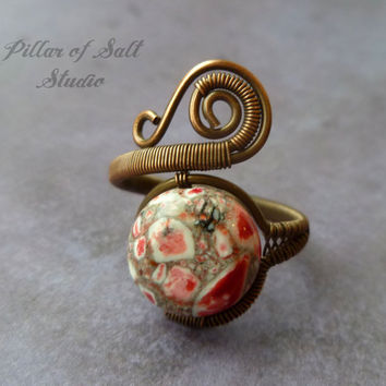 """Copper ring, wire wrapped jewelry handmade, wire jewelry, Wire Wrapped Ring, copper jewelry, unique red and white """"Turkey turquoise"""""""
