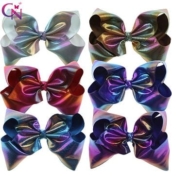 "6 Pieces/lot 7"" Rainbow Leather Hair Bows With Clips For Kids Girls Handmade Large Colourful Bows Hairgrips Hair Accessories"