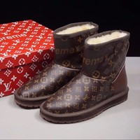Best Online Sale Louis vuitton LV x Supreme x UGG Customise Brown Print Wool Mid Boost