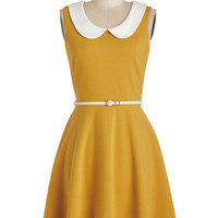 Sleeveless A-line Work to Play Dress in Goldenrod