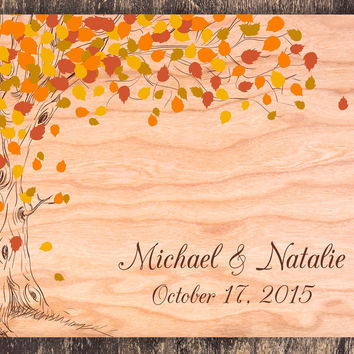 Autumn Wedding Guestbook, Autumn Tree Guestbook, Rustic Wedding Guestbook, Autumn Tree Wedding, Wood Guestbook, Wedding Book, Garden Wedding