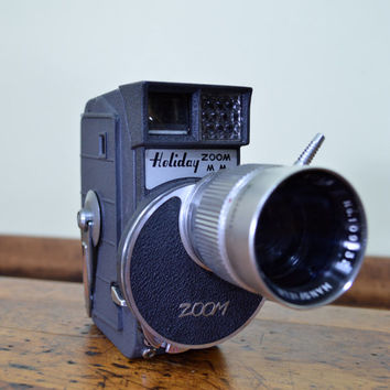 Vintage 8mm Camera, WORKS, Mansfield Holiday Zoom, Antique Movie Camera
