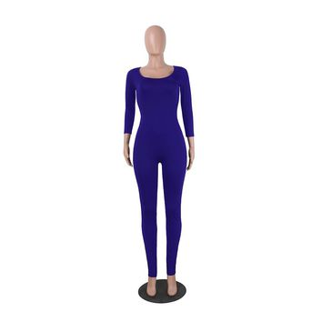 Yuerlian Women Cut Out Backless Jumpsuits O-neck Long Sleeve Rompers 2017 Summer Lady Slim Leotard Overalls Combinaison Femme