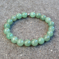 Balance, genuine faceted aventurine bead mala bracelet