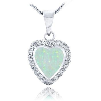 Opal and Silver Heart Shaped Pendant Necklace