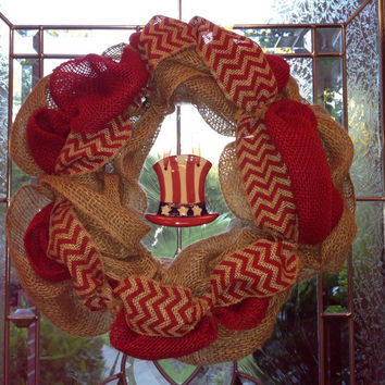 Burlap 4th of July country primitive mesh wreath