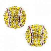 Sport Softball Crystal Rhinestone 14mm Drop Stud Fashion Earrings Silver Yellow