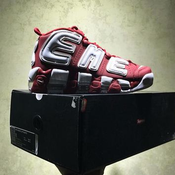 Best Online Sale Supreme X Nike Air More Uptempo Retro Sport Baskerball White Red Sneaker 902290-700
