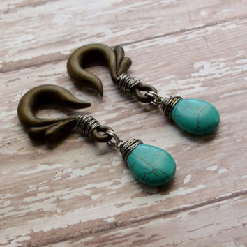 Wire Wrapped Turquoise Gauged Earrings
