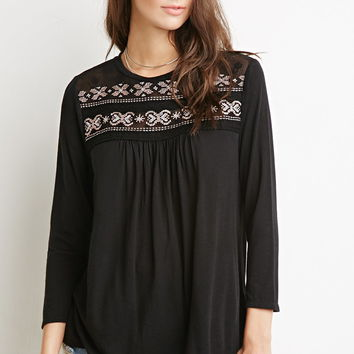 Southwestern-Embroidered Top