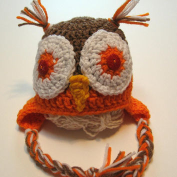Newborn owl hat.  Crochet ear flap owl hat.  Newborn size.  Ready to ship.  Photo prop.  Orange and brown.
