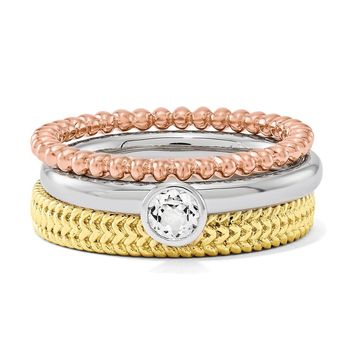 Sterling Silver, 14k Gold Plated & White Topaz Stackable Trio Ring Set