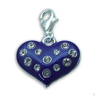 clip on Charm pendant silver ZirkoniaHeeart lilac #9215, extra large, handbag Charm | Phone Charm