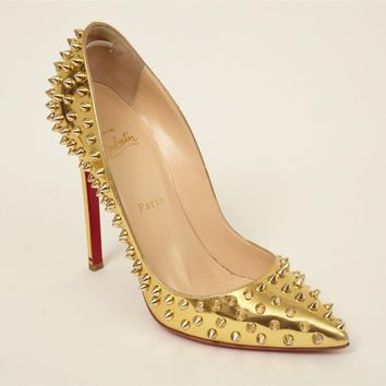 CHRISTIAN LOUBOUTIN Gold PIGALLE SPIKES 120 Studded High-Heel Pump 8.5-38.5