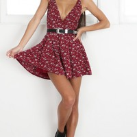 Down For The Night playsuit in wine floral Produced By SHOWPO