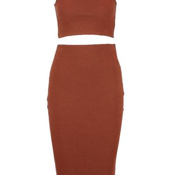 Sally Square Neck Strappy Midi Skirt Co-ord Set | Boohoo