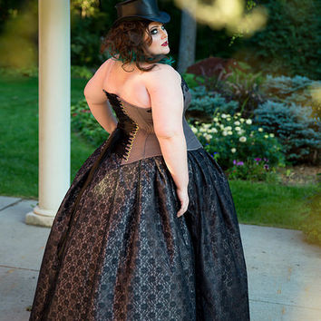 Alternative Wedding Dress- Daring Beauty BallGown- Black Lace Overlay- Gothic Steampunk Cinderella - Custom to Order