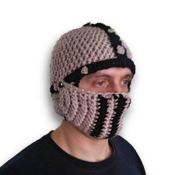 Knight crochet hat, Men's Hat Crocheted Knight Helmet warm winter hat with removable visor in tan and black
