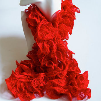 Red Ruffle Scarf Knitted Ribbon Layered Can Can Rico Yarn
