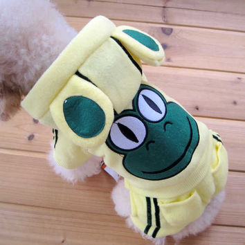 Cute Dog Clothing Pet Fashion YELLOW Color Polyester Material Frog Design-Size 5