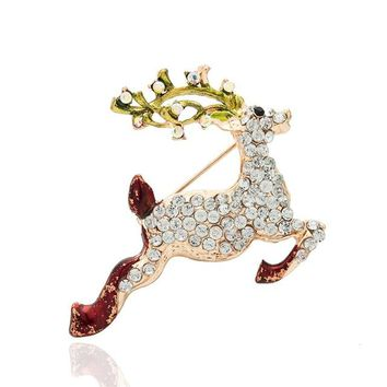 Festive little Deer Brooches Pins Corsage Gifts Year Women Crystal Brooch