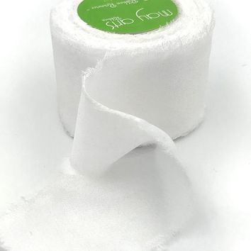 "White 100% Silk Crepe Ribbon - 1.25"" Wide x 10.9 yd"