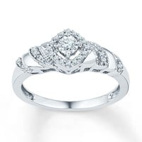 Diamond Promise Ring 1/5 ct tw Round-cut Sterling Silver