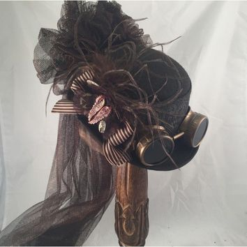 Steampunk Brown Felt Riding Hat